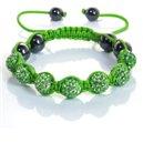 Фън Шуй Тибетска Гривна - Шамбала с Инкрустирани Зелени Кристали (SHGN01)